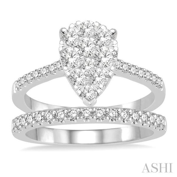 1 1/10 Ctw Diamond Lovebright Wedding Set With 3/4 Ctw Pear Shape Engagement Ring and 1/4 Ctw Wedding Band in 14K White Gold Image 2 Trinity Diamonds Inc. Tucson, AZ