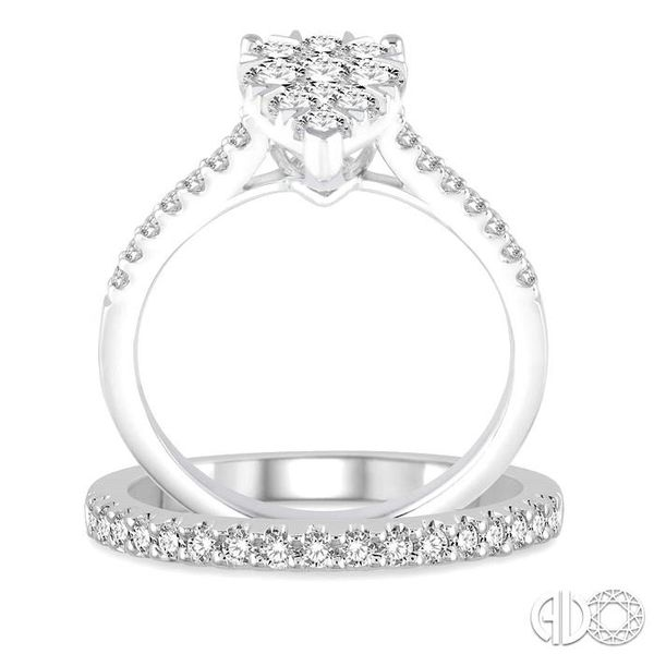 1 1/10 Ctw Diamond Lovebright Wedding Set With 3/4 Ctw Pear Shape Engagement Ring and 1/4 Ctw Wedding Band in 14K White Gold Image 3 Trinity Diamonds Inc. Tucson, AZ