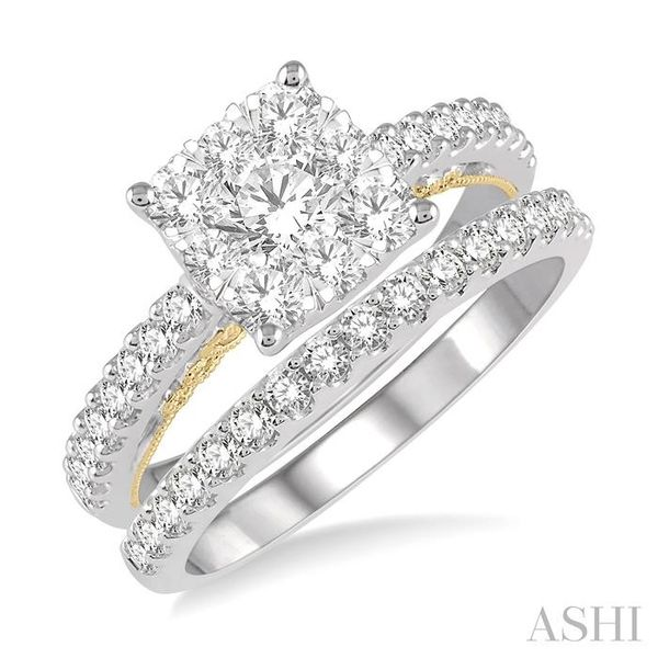 1 1/3 ctw Lovebright Diamond Wedding Set With 1 1/20 ctw Cushion Shape Engagement Ring in 14K White and Yellow Gold and 1/3 ctw  Trinity Diamonds Inc. Tucson, AZ