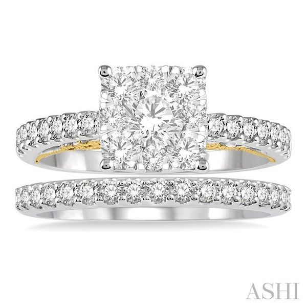 1 1/3 ctw Lovebright Diamond Wedding Set With 1 1/20 ctw Cushion Shape Engagement Ring in 14K White and Yellow Gold and 1/3 ctw  Image 2 Trinity Diamonds Inc. Tucson, AZ