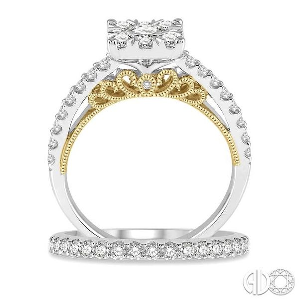 1 1/3 ctw Lovebright Diamond Wedding Set With 1 1/20 ctw Cushion Shape Engagement Ring in 14K White and Yellow Gold and 1/3 ctw  Image 3 Trinity Diamonds Inc. Tucson, AZ