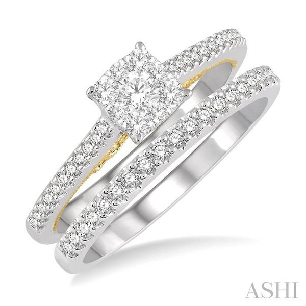 1/2 ctw Lovebright Diamond Wedding Set With 1/3 ctw Cushion Shape Engagement Ring in 14K White and Yellow Gold and 1/6 ctw Weddi Trinity Diamonds Inc. Tucson, AZ