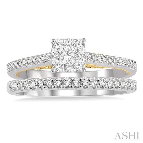 1/2 ctw Lovebright Diamond Wedding Set With 1/3 ctw Cushion Shape Engagement Ring in 14K White and Yellow Gold and 1/6 ctw Weddi Image 2 Trinity Diamonds Inc. Tucson, AZ