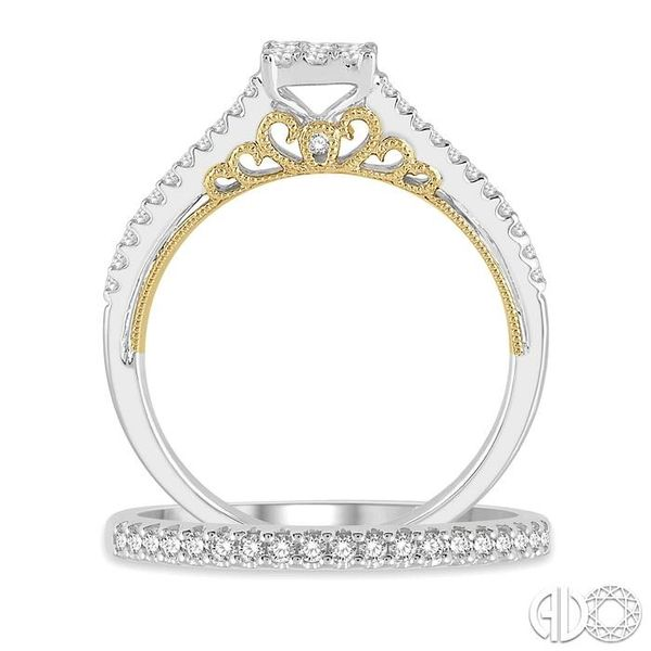 1/2 ctw Lovebright Diamond Wedding Set With 1/3 ctw Cushion Shape Engagement Ring in 14K White and Yellow Gold and 1/6 ctw Weddi Image 3 Trinity Diamonds Inc. Tucson, AZ