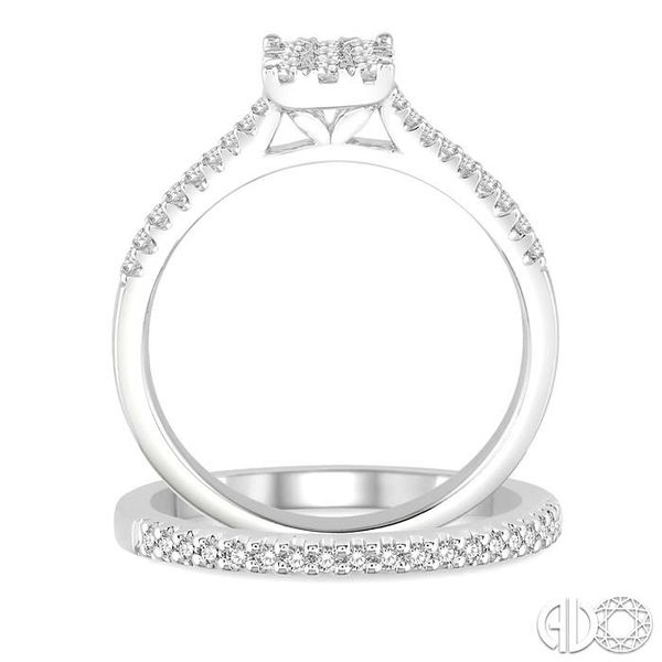 1/2 Ctw Round Cut Diamond Square Shape Lovebright Bridal Set with 3/8 Ctw Engagement Ring and 1/6 Ctw Wedding Band in 14K White  Image 3 Trinity Diamonds Inc. Tucson, AZ
