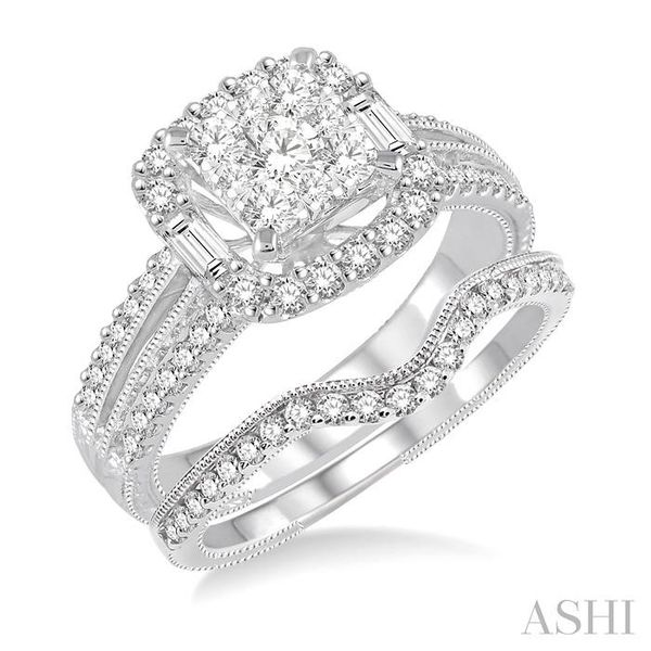 1 1/6 Ctw Diamond Lovebright Square Shape Wedding Set with 1 Ctw Engagement Ring and 1/5 Ctw Wedding Band in 14K White Gold Trinity Diamonds Inc. Tucson, AZ