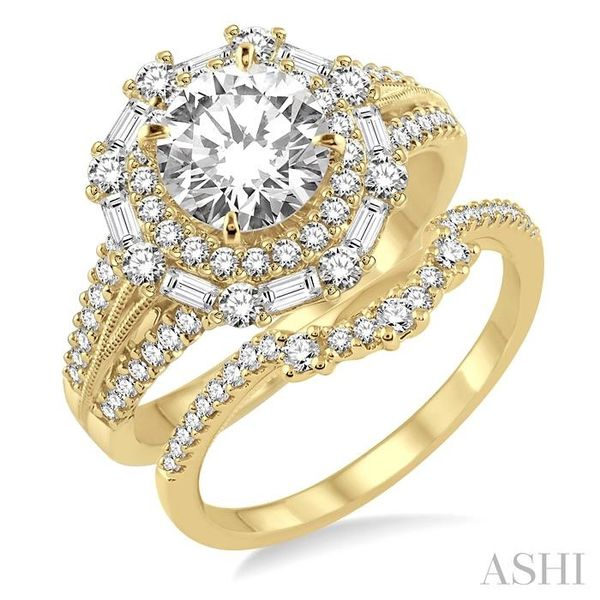 1 1/2 Ctw Diamond Wedding Set with 1 1/3 Ctw Round Cut Engagement Ring and 1/5 Ctw Wedding Band in 14K Yellow Gold Trinity Diamonds Inc. Tucson, AZ