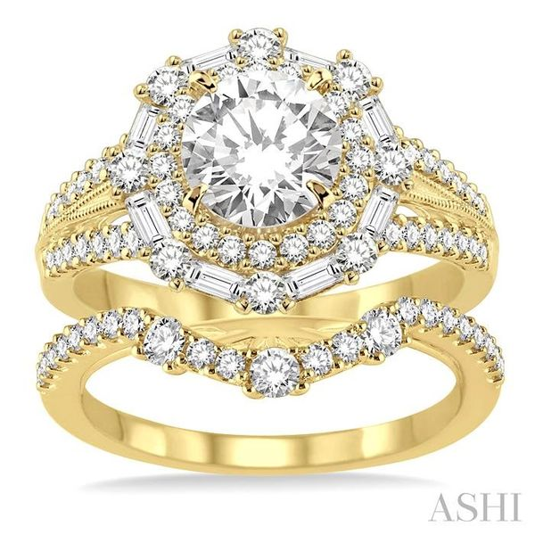 1 1/2 Ctw Diamond Wedding Set with 1 1/3 Ctw Round Cut Engagement Ring and 1/5 Ctw Wedding Band in 14K Yellow Gold Image 2 Trinity Diamonds Inc. Tucson, AZ