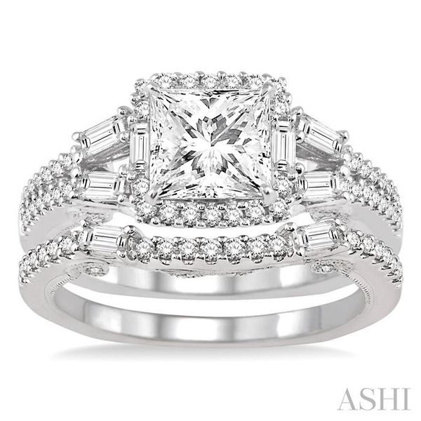 1 3/8 Ctw Diamond Wedding Set with 1 1/6 Ctw Princess Cut Engagement Ring and 1/4 Ctw Wedding Band in 14K White Gold Image 2 Trinity Diamonds Inc. Tucson, AZ