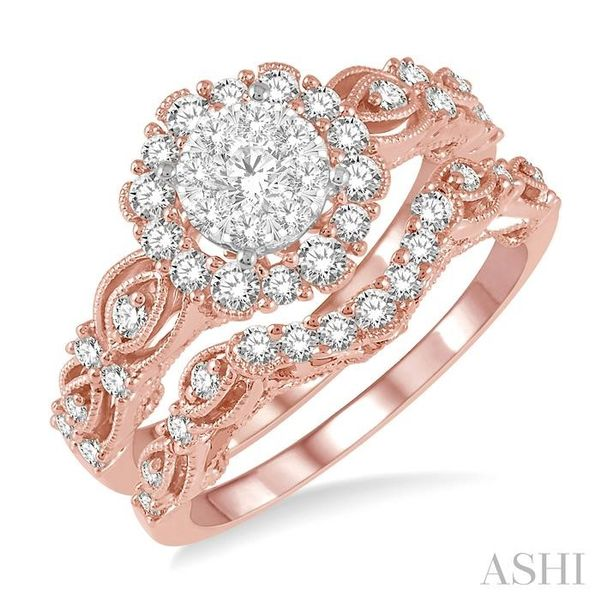 7/8 Ctw Diamond Lovebright Wedding Set with 3/4 Ctw Engagement Ring and 1/5 Ctw Wedding Band in 14K Rose and White Gold Trinity Diamonds Inc. Tucson, AZ