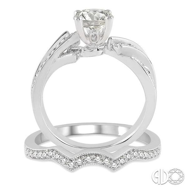 1 Ctw Diamond Wedding Set with 3/4 Ctw Round Cut Engagement Ring and 1/5 Ctw Wedding Band in 14K White Gold Image 3 Trinity Diamonds Inc. Tucson, AZ