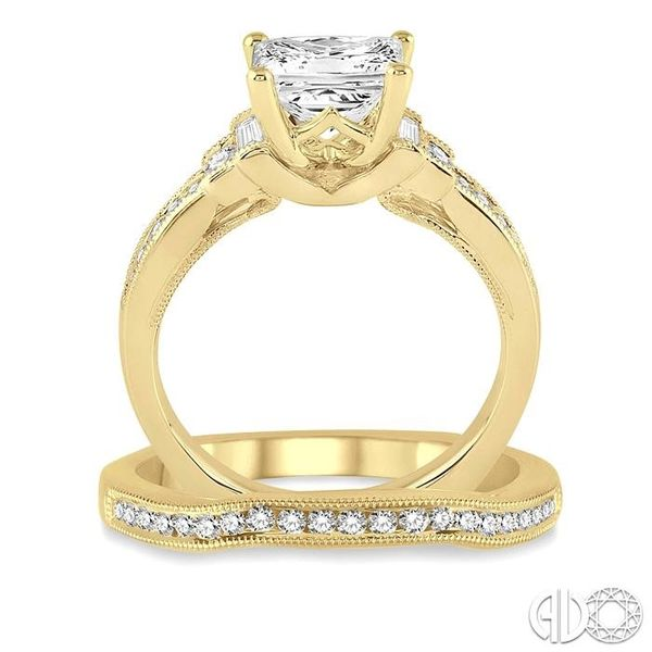 1 1/10 Ctw Diamond Wedding Set with 7/8 Ctw Princess Cut Engagement Ring and 1/5 Ctw Wedding Band in 14K Yellow Gold Image 3 Trinity Diamonds Inc. Tucson, AZ