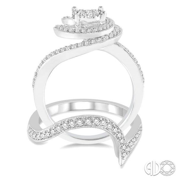 1 Ctw Round Cut Diamond Lovebright Bridal Set with 3/4 Ctw Engagement Ring and 1/4 Ctw Wedding Band in 14K White Gold Image 3 Trinity Diamonds Inc. Tucson, AZ