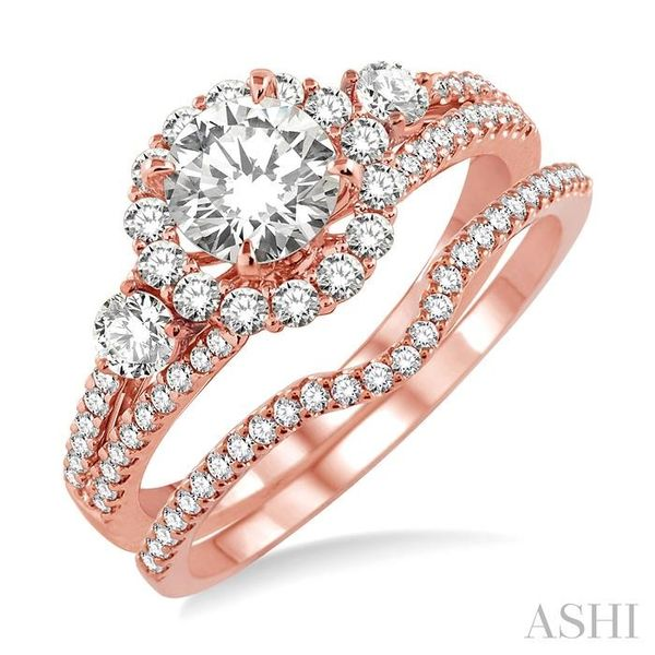 1 Ctw Diamond Wedding Set with 7/8 Ctw Round Cut Engagement Ring and 1/6 Ctw Wedding Band in 14K Rose Gold Trinity Diamonds Inc. Tucson, AZ