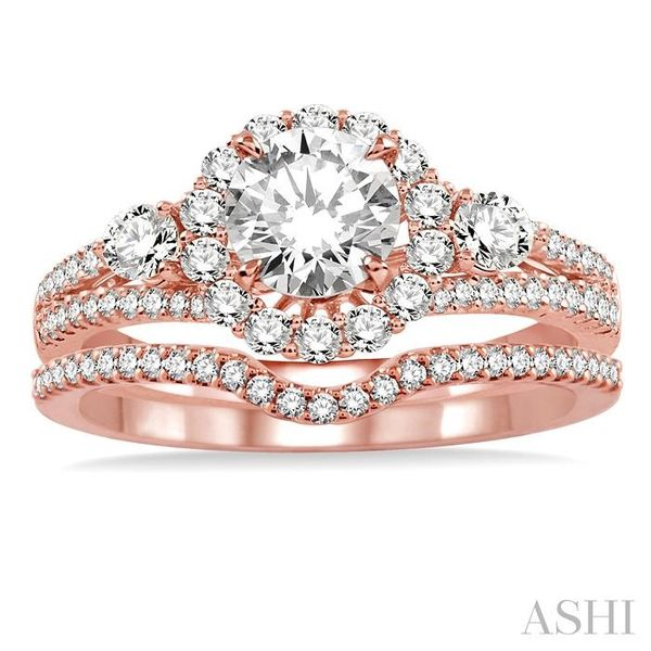 1 Ctw Diamond Wedding Set with 7/8 Ctw Round Cut Engagement Ring and 1/6 Ctw Wedding Band in 14K Rose Gold Image 2 Trinity Diamonds Inc. Tucson, AZ