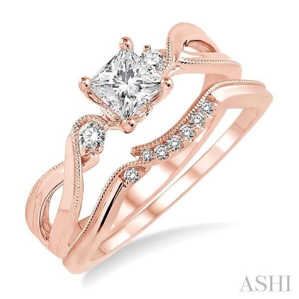 3/8 Ctw Diamond Wedding Set with 3/8 Ctw Princess Cut Engagement Ring and 1/20 Ctw Wedding Band in 14K Rose Gold Trinity Diamonds Inc. Tucson, AZ