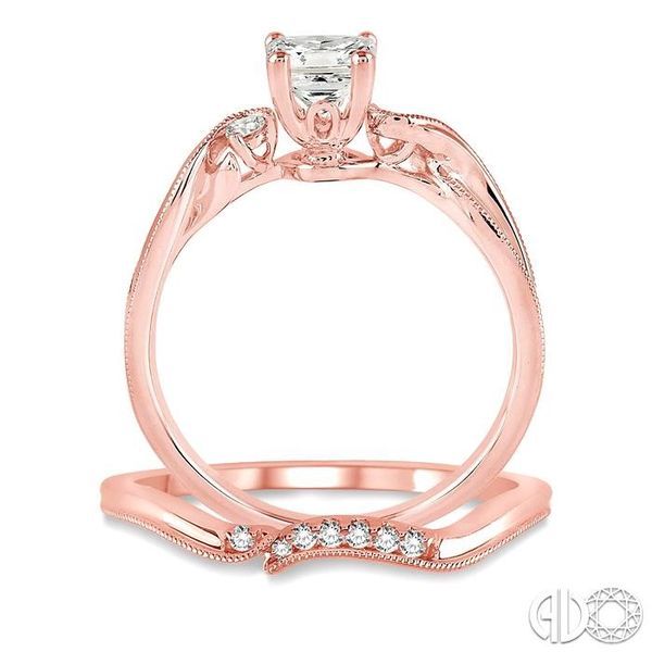 3/8 Ctw Diamond Wedding Set with 3/8 Ctw Princess Cut Engagement Ring and 1/20 Ctw Wedding Band in 14K Rose Gold Image 3 Trinity Diamonds Inc. Tucson, AZ