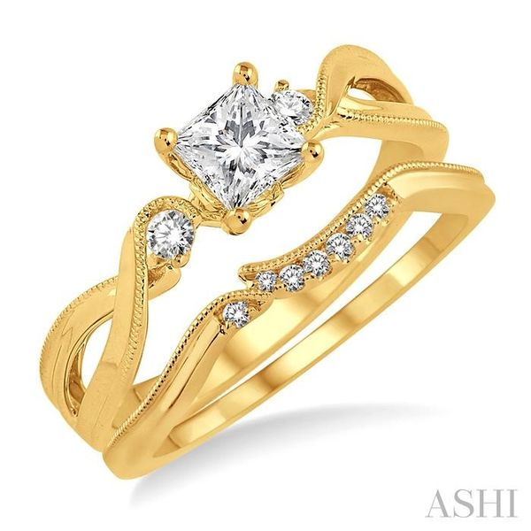 3/8 Ctw Diamond Wedding Set with 3/8 Ctw Princess Cut Engagement Ring and 1/20 Ctw Wedding Band in 14K Yellow Gold Trinity Diamonds Inc. Tucson, AZ