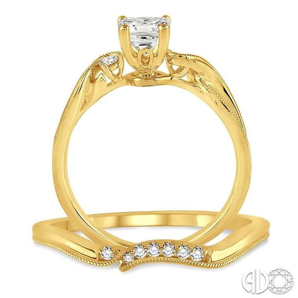3/8 Ctw Diamond Wedding Set with 3/8 Ctw Princess Cut Engagement Ring and 1/20 Ctw Wedding Band in 14K Yellow Gold Image 3 Trinity Diamonds Inc. Tucson, AZ