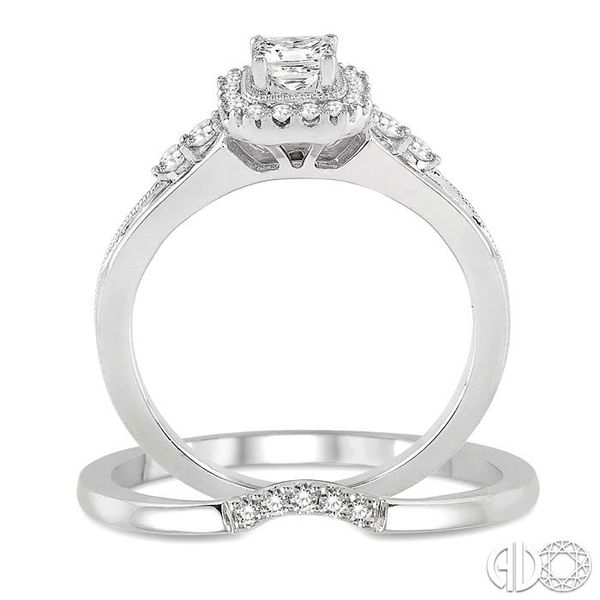 1/2 Ctw Diamond Wedding Set with 1/2 Ctw Princess Cut Engagement Ring and 1/20 Ctw Wedding Band in 14K White Gold Image 3 Trinity Diamonds Inc. Tucson, AZ
