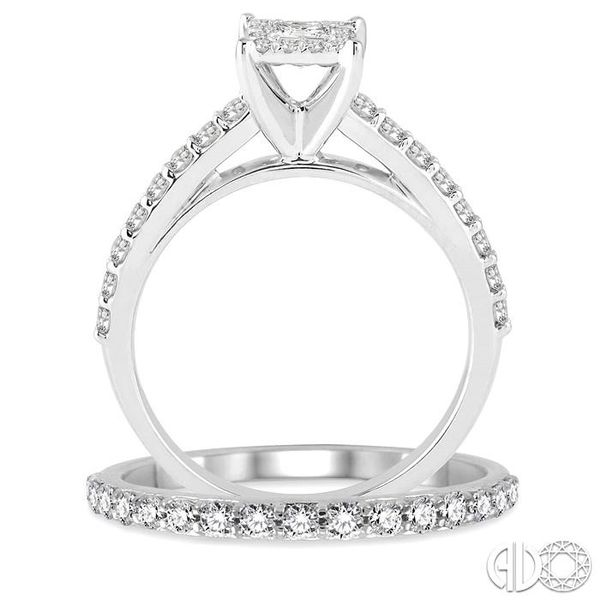 7/8 Ctw Diamond Lovebright Wedding Set with 1/2 Ctw Round and Princess Cut Engagement Ring and 1/3 Ctw Wedding Band in 14K White Image 3 Trinity Diamonds Inc. Tucson, AZ