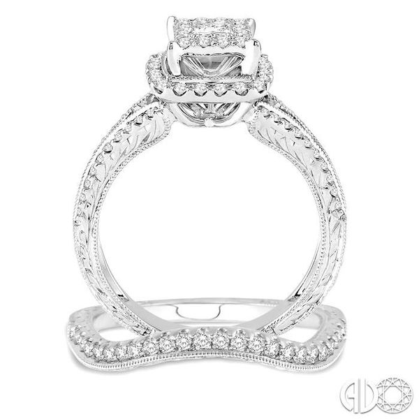 7/8 Ctw Diamond Lovebright Wedding Set with 3/4 Ctw Princess Cut Engagement Ring and 1/5 Ctw Wedding Band in 14K White Gold Image 3 Trinity Diamonds Inc. Tucson, AZ