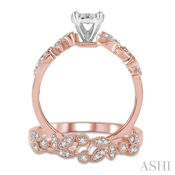 1/2 Ctw Diamond Lovebright Wedding Set with 3/8 Ctw Round Cut Engagement Ring and 1/6 Ctw Wedding Band in 14K Rose and White Gol Image 3 Trinity Diamonds Inc. Tucson, AZ