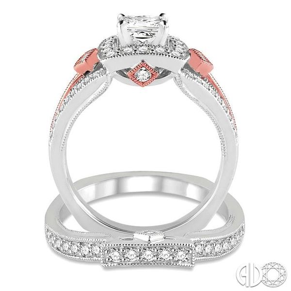 1 1/5 Ctw Diamond Wedding Set with 1 Ctw Princess Cut Engagement Ring and 1/4 Ctw Wedding Band in 14K White and Rose Gold Image 3 Trinity Diamonds Inc. Tucson, AZ