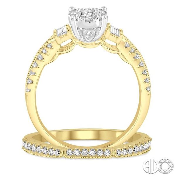 1 Ctw Diamond Lovebright Bridal Set with 3/4 Ctw Engagement Ring and 1/5 Ctw Wedding Band in 14K Yellow and White Gold Image 3 Trinity Diamonds Inc. Tucson, AZ