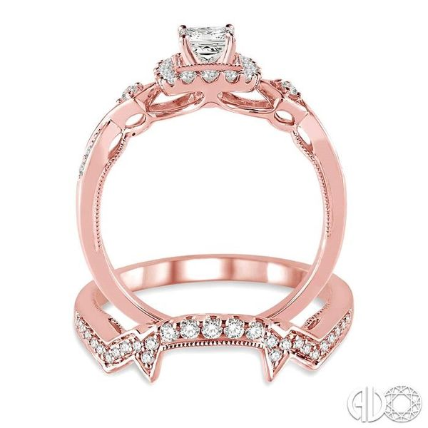5/8 Ctw Diamond Wedding Set with 1/2 Ctw Princess Cut Engagement Ring and 1/6 Ctw Wedding Band in 14K Rose Gold Image 3 Trinity Diamonds Inc. Tucson, AZ