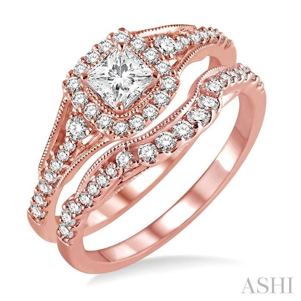 5/8 Ctw Diamond Wedding Set with 1/2 Ctw Princess Cut Engagement Ring and 1/6 Ctw Wedding Band in 14K Rose Gold Trinity Diamonds Inc. Tucson, AZ