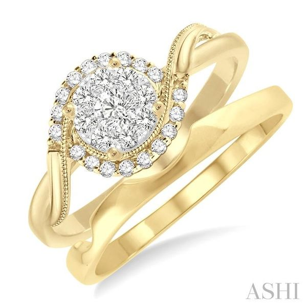 1/3 Ctw Diamond Lovebright Wedding Set with 1/3 Ctw Round Cut Engagement Ring and Shadow Band in 14K Yellow and White Gold Trinity Diamonds Inc. Tucson, AZ