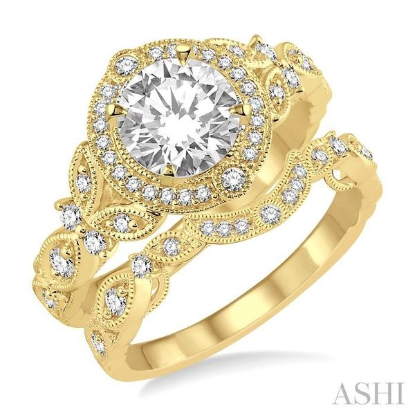 3/4 Ctw Diamond Bridal Set with 5/8 Ctw Round Cut Engagement Ring and 1/10 Ctw Wedding Band in 14K Yellow Gold Trinity Diamonds Inc. Tucson, AZ