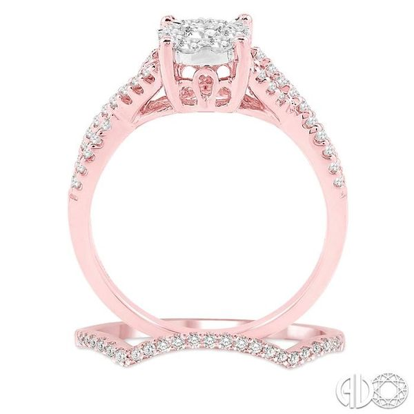 3/4 Ctw Diamond Wedding Set with 5/8 Ctw Lovebright Round Cut Engagement Ring and 1/10 Ctw Wedding Band in 14K Rose and White Go Image 3 Trinity Diamonds Inc. Tucson, AZ