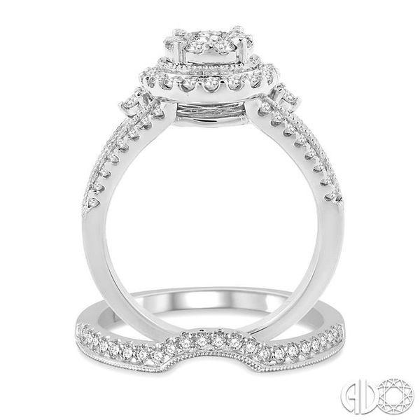 1 1/5 Ctw Diamond Wedding Set with 1 1/10 Ctw Lovebright Round Cut Engagement Ring and 1/6 Ctw Wedding Band in 14K White Gold Image 3 Trinity Diamonds Inc. Tucson, AZ