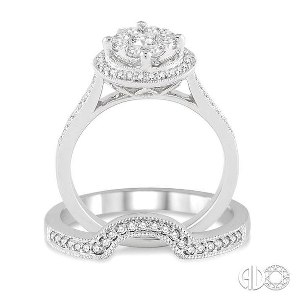 3/4 Ctw Diamond Wedding Set with 5/8 Ctw Lovebright Diamond Engagement Ring and 1/10 Ctw Wedding Band in 14K White Gold Image 3 Trinity Diamonds Inc. Tucson, AZ