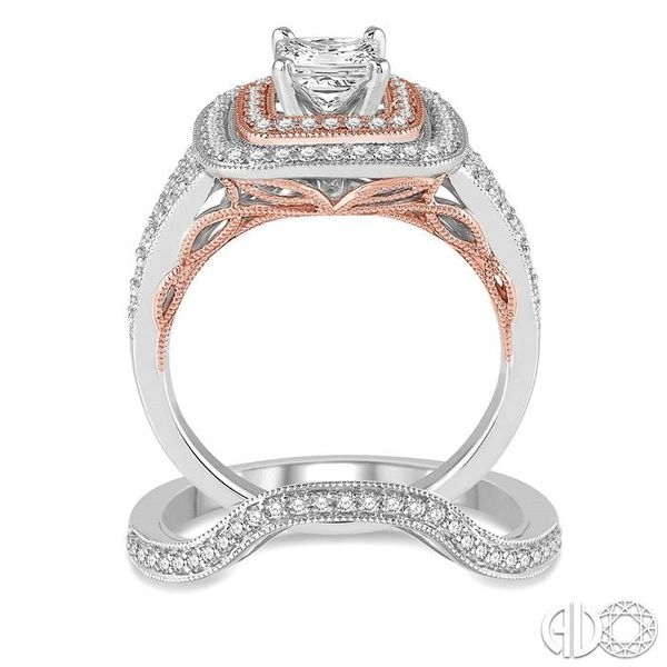 1 Ctw Diamond Wedding Set with 7/8 Ctw Princess Cut Engagement Ring and 1/8 Ctw Wedding Band in 14K White and Rose Gold Image 3 Trinity Diamonds Inc. Tucson, AZ