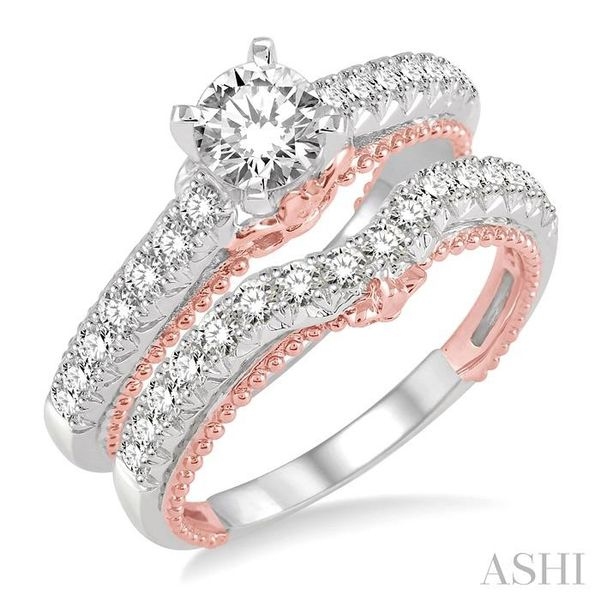 1 1/5 Ctw Diamond Wedding Set with 7/8 Ctw Round Cut Engagement Ring and 1/3 Ctw Wedding Band in 14K White and Rose Gold Trinity Diamonds Inc. Tucson, AZ