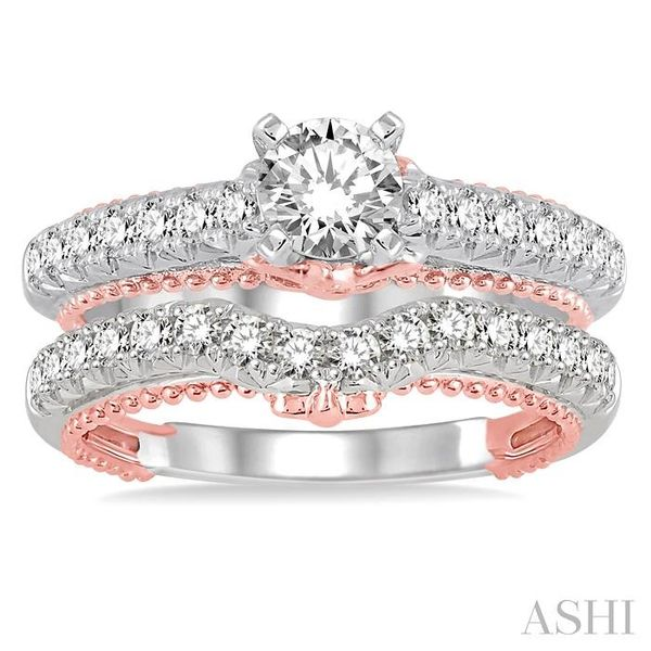 1 1/5 Ctw Diamond Wedding Set with 7/8 Ctw Round Cut Engagement Ring and 1/3 Ctw Wedding Band in 14K White and Rose Gold Image 2 Trinity Diamonds Inc. Tucson, AZ
