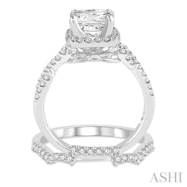 3/4 Ctw Diamond Bridal Set with 1/2 Ctw Princess Cut Engagement Ring and 1/5 Ctw Wedding Band in 14K White Gold Image 3 Trinity Diamonds Inc. Tucson, AZ