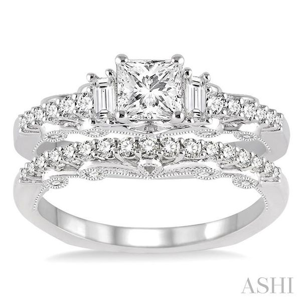 1 Ctw Diamond Wedding Set with 3/4 Ctw Princess Cut Engagement Ring and 1/4 Ctw Wedding Band in 14K White Gold Image 2 Trinity Diamonds Inc. Tucson, AZ