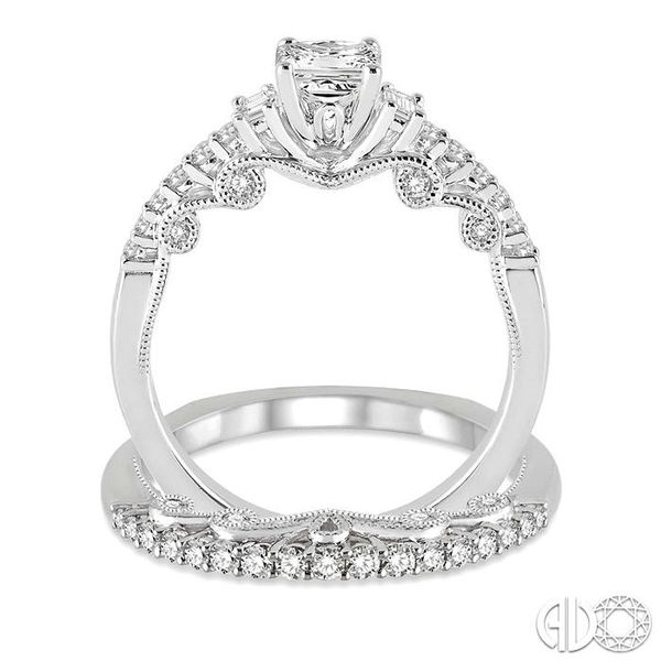 1 Ctw Diamond Wedding Set with 3/4 Ctw Princess Cut Engagement Ring and 1/4 Ctw Wedding Band in 14K White Gold Image 3 Trinity Diamonds Inc. Tucson, AZ
