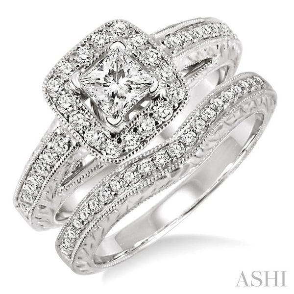 7/8 Ctw Diamond Wedding Set with 5/8 Ctw Princess Cut Engagement Ring and 1/5 Ctw Wedding Band in 14K White Gold Trinity Diamonds Inc. Tucson, AZ
