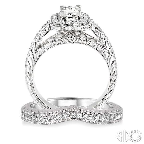 7/8 Ctw Diamond Wedding Set with 5/8 Ctw Princess Cut Engagement Ring and 1/5 Ctw Wedding Band in 14K White Gold Image 3 Trinity Diamonds Inc. Tucson, AZ