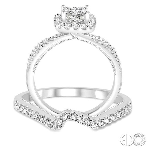 5/8 Ctw Diamond Wedding Set with 1/2 Ctw Princess Cut Engagement Ring and 1/6 Ctw Wedding Band in 14K White Gold Image 3 Trinity Diamonds Inc. Tucson, AZ