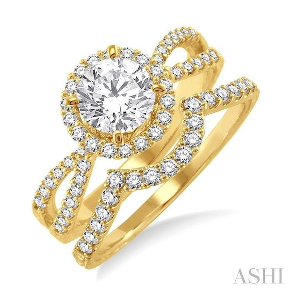 1 1/10 Ctw Diamond Wedding Set with 7/8 Ctw Round Cut Engagement Ring and 1/4 Ctw Wedding Band in 14K Yellow Gold Trinity Diamonds Inc. Tucson, AZ