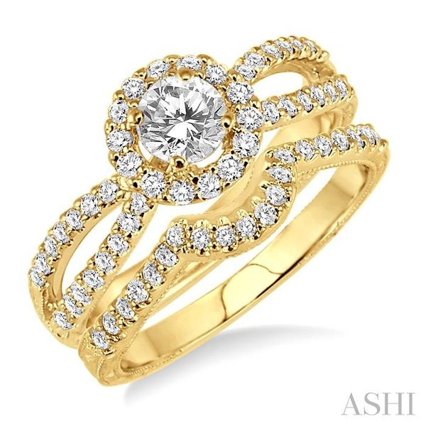 7/8 Ctw Diamond Wedding Set with 3/4 Ctw Round Cut Engagement Ring and 1/6 Ctw Wedding Band in 14K Yellow Gold Trinity Diamonds Inc. Tucson, AZ
