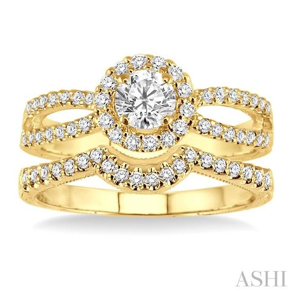 7/8 Ctw Diamond Wedding Set with 3/4 Ctw Round Cut Engagement Ring and 1/6 Ctw Wedding Band in 14K Yellow Gold Image 2 Trinity Diamonds Inc. Tucson, AZ