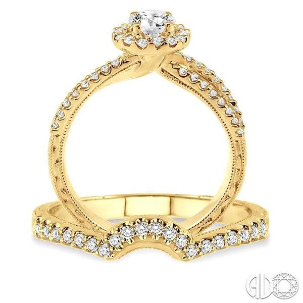 7/8 Ctw Diamond Wedding Set with 3/4 Ctw Round Cut Engagement Ring and 1/6 Ctw Wedding Band in 14K Yellow Gold Image 3 Trinity Diamonds Inc. Tucson, AZ