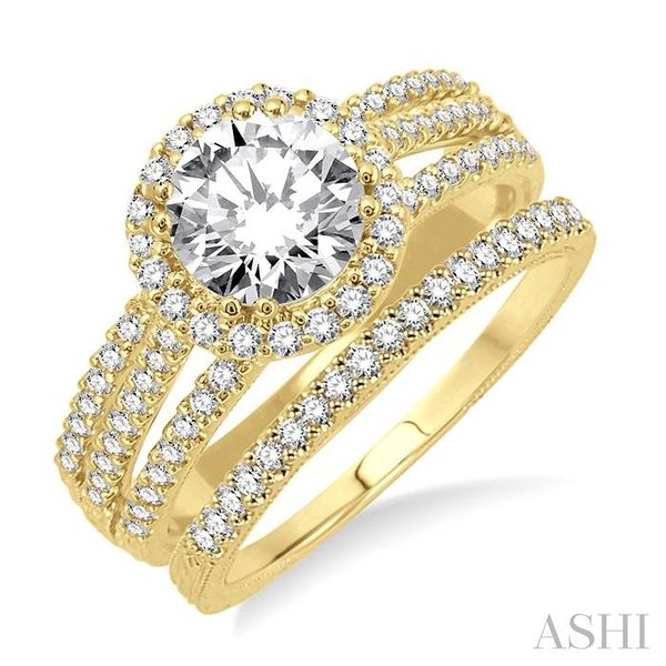 1 1/3 Ctw Diamond Wedding Set with 1 1/6 Ctw Round Cut Engagement Ring and 1/6 Ctw Wedding Band in 14K Yellow Gold Trinity Diamonds Inc. Tucson, AZ